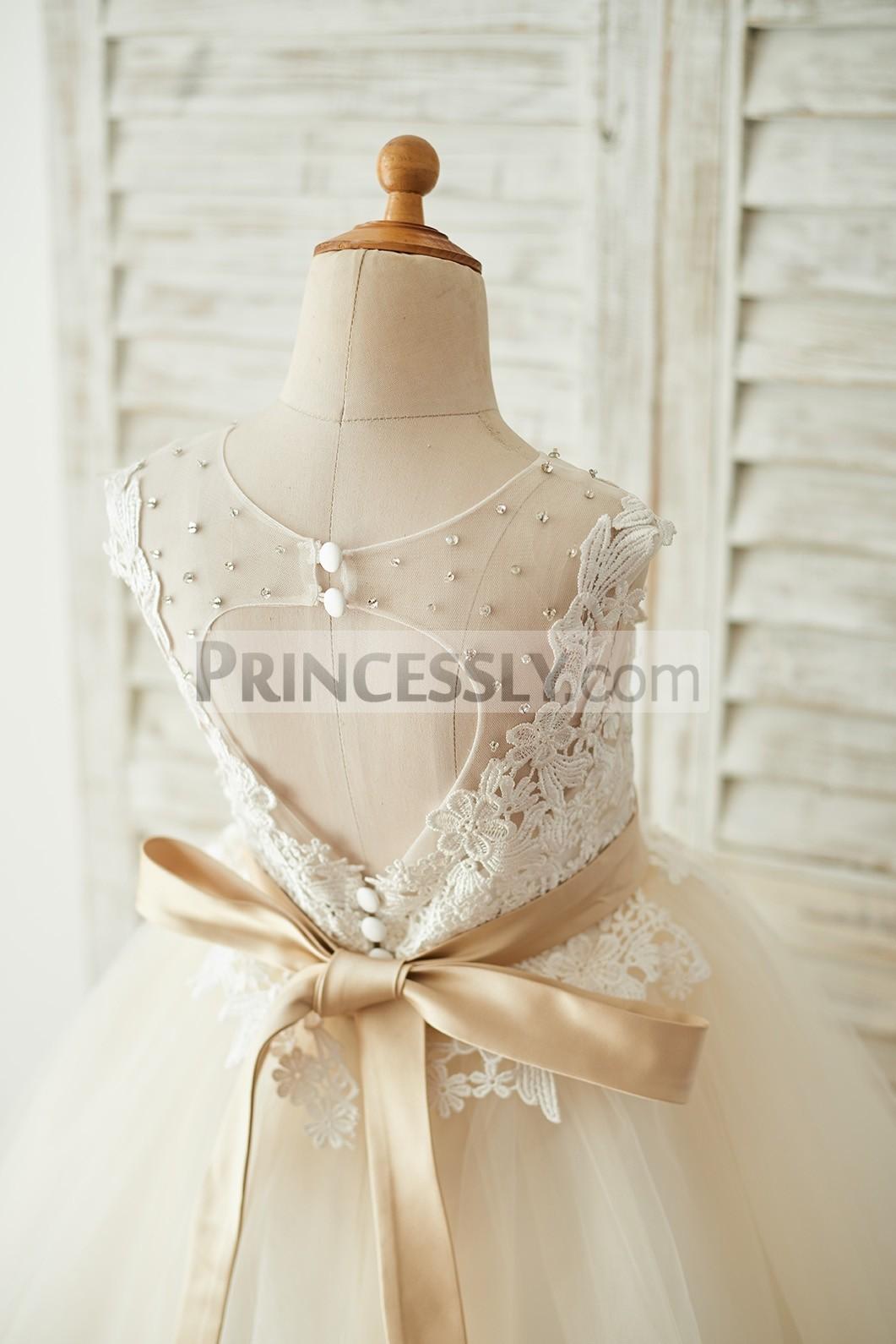 Princessly.com-K1003676-Ivory Lace Champagne Tulle Keyhole Back Wedding Party Flower Girl Dress with Belt-31