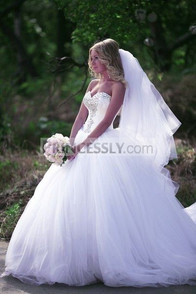 Princessly.com-K1004119 Ball Gown Ivory Tulle Strapless Wedding Party Dress-32