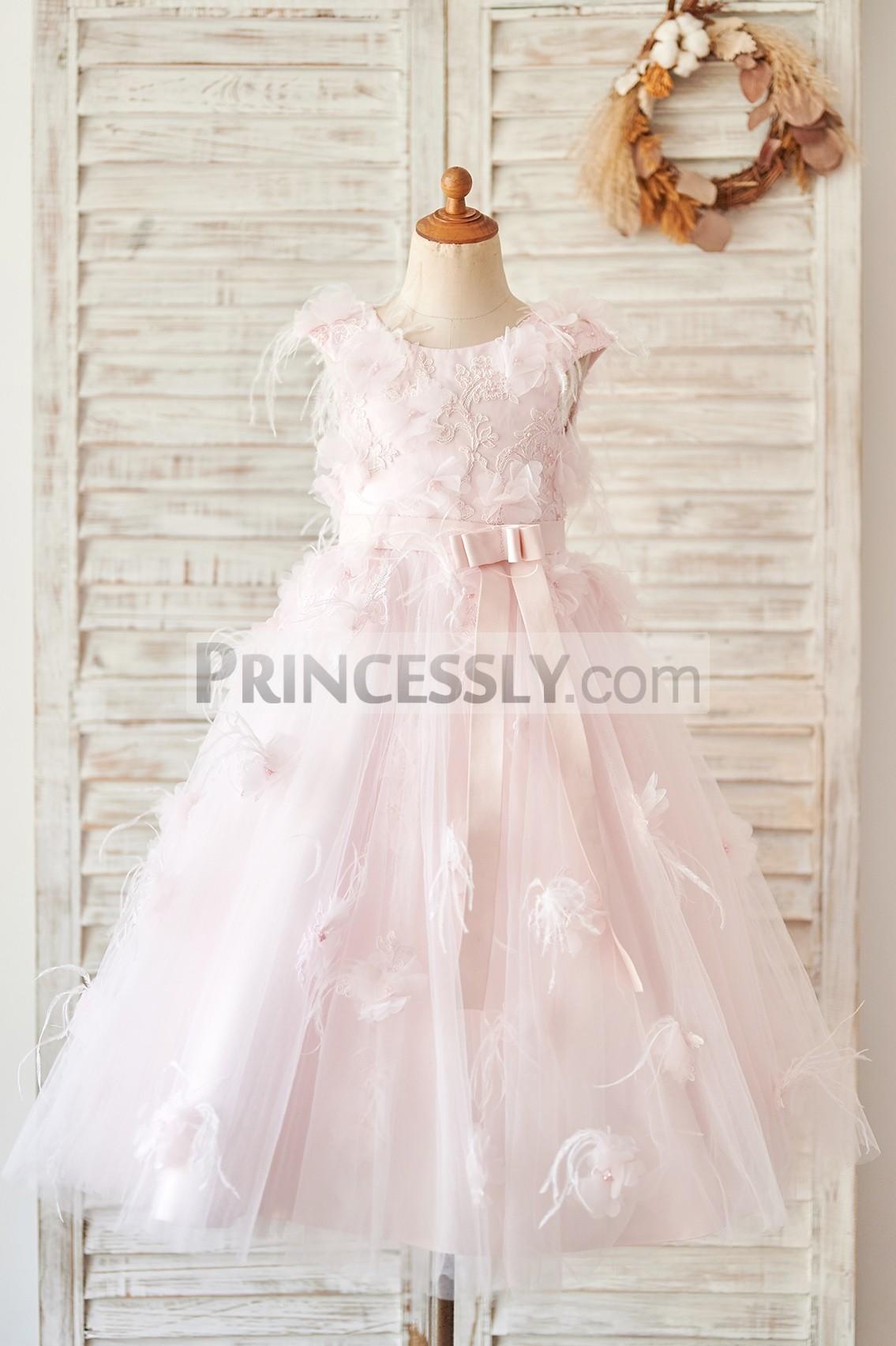 Princessly.com-K1004063-Pink Lace Tulle V Back Wedding Flower Girl Dress with Feather-31