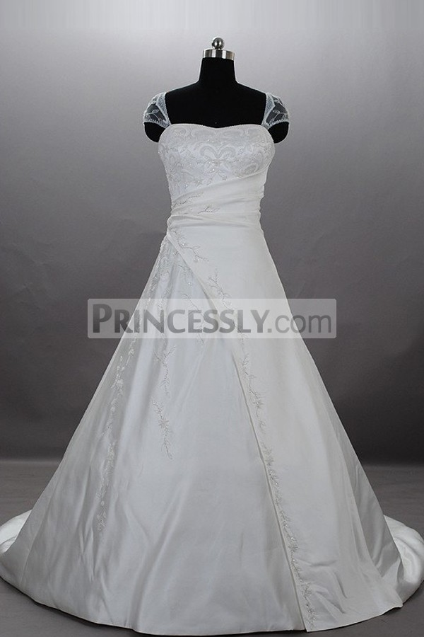 A-line Embroidered Sheer Cap Sleeves Sweetheart Gathered Ruched Satin Court Wedding Gown