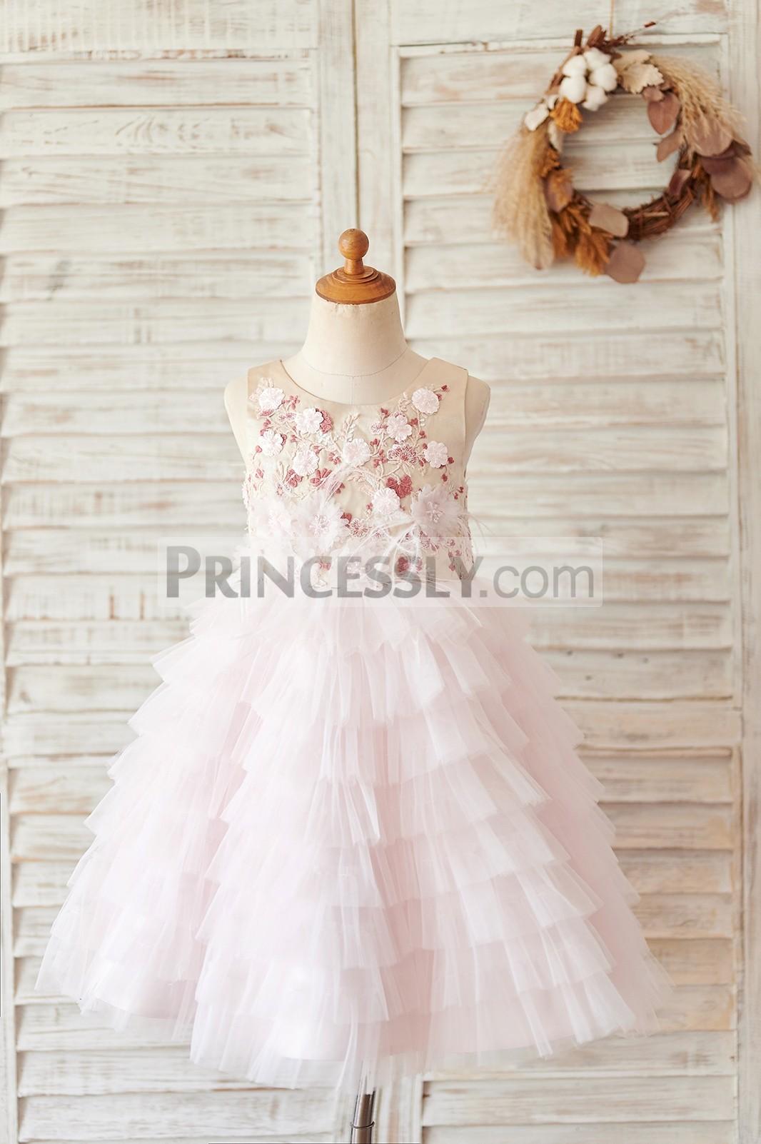 Princessly.com-K1004060-Blush Pink Tulle Embroidery Lace V Back Wedding Flower Girl Dress-31