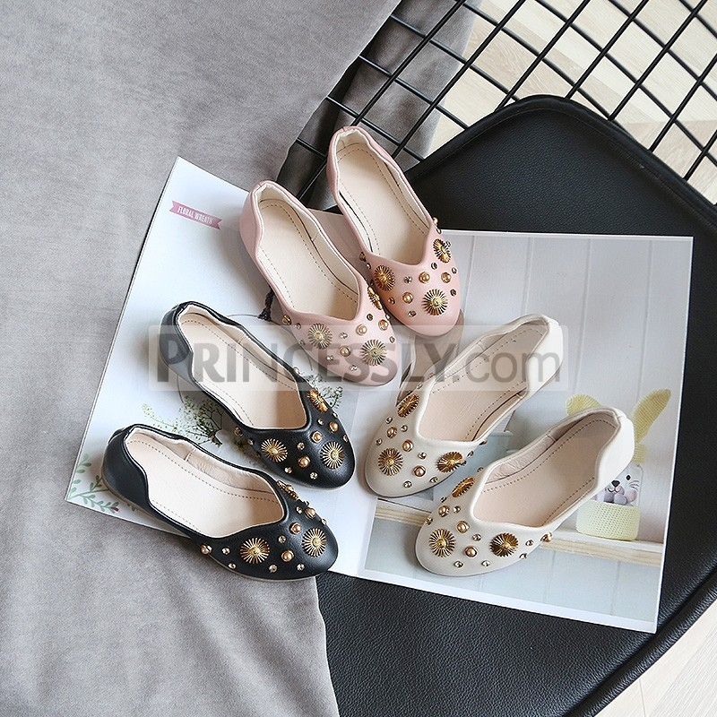 Princessly.com-K1003944-Ivory/Black/Pink Bow Leather Shoes Low Heel Shoes Wedding Party Flower Girl Shoes-31