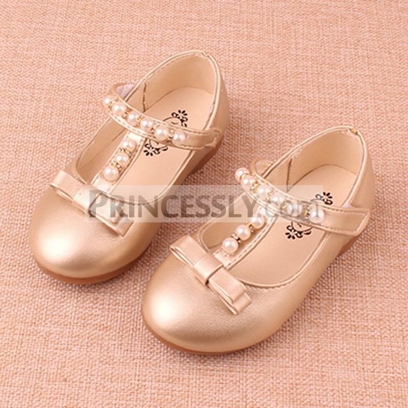 Princessly.com-K1003951-Gold/Sliver Pretty Pearl Wedding Flower Girl Shoes Flat Kids Party Shoes-31