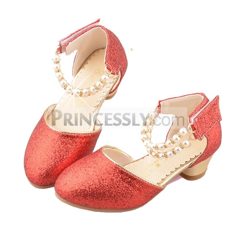 Princessly.com-K1004023-Ivory/Red/Pink Sequin Pearls Flower Girl Shoes Kids Sandals Wedding Shoes-31