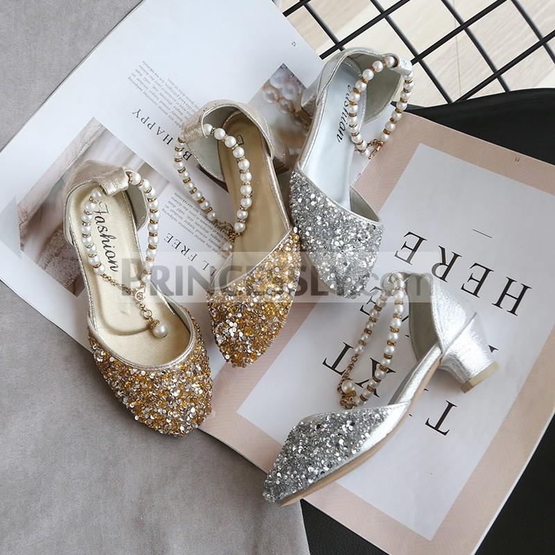 Princessly.com-K1004021-Gold/Silver Sequin Pearls Wedding Flower Girl Shoes Princess Shoes-31