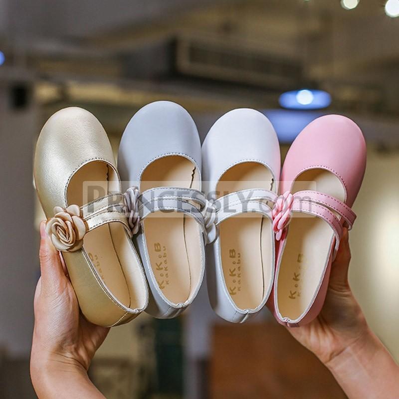 Princessly.com-K1003935-Ivory/Gold/Pink Wedding Flower Girl Shoes Ballet Flat Princess Shoes-31