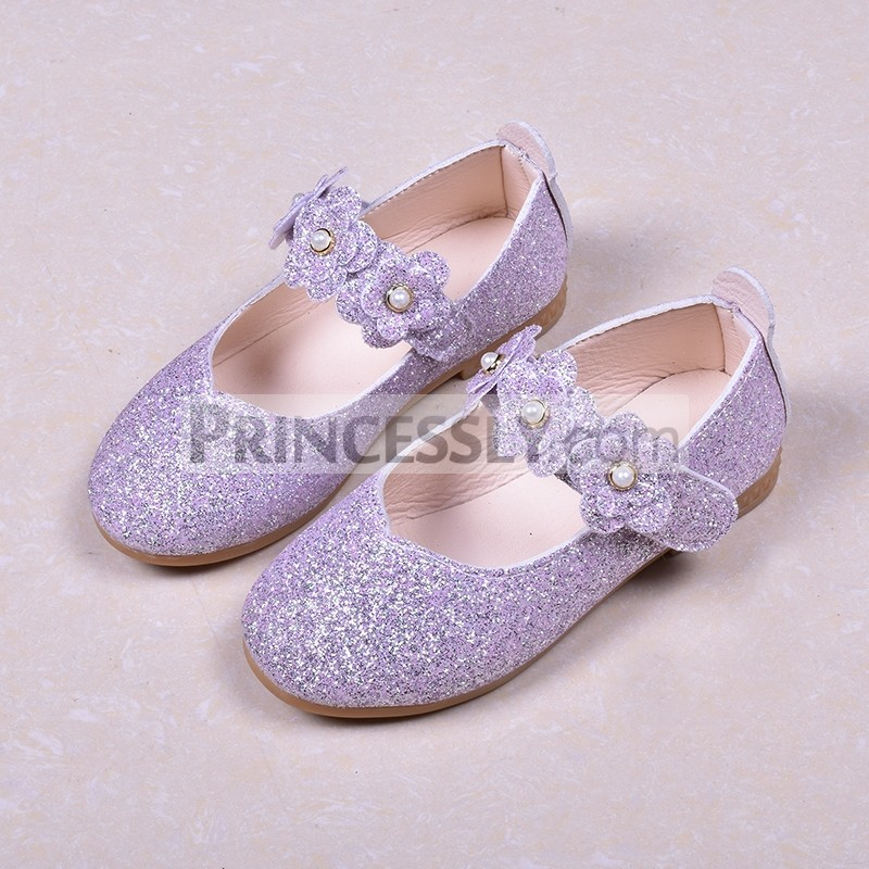 Princessly.com-K1003946-Black/Green/Lavender Leather Sequin Pearl Flat Princess Shoes Wedding Flower Girl Shoes-31