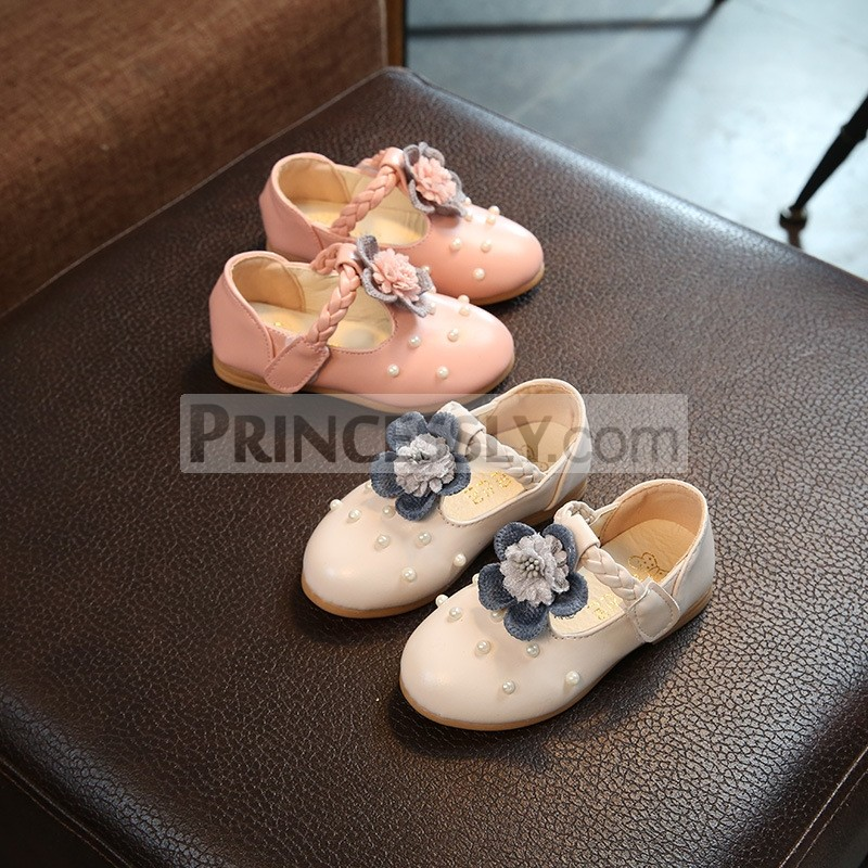 Princessly.com-K1003948-Ivory/Pink Leather Pearl Bead Flower Girl Shoes Wedding Party Princess Shoes-31