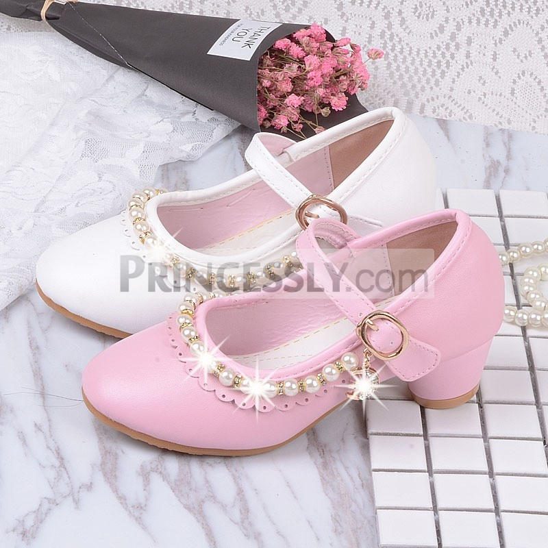 Princessly.com-K1004022-Ivory/Pink Leather Rhinestone Pearls Wedding Flower Girl Shoes High Heels Princess Shoes-31