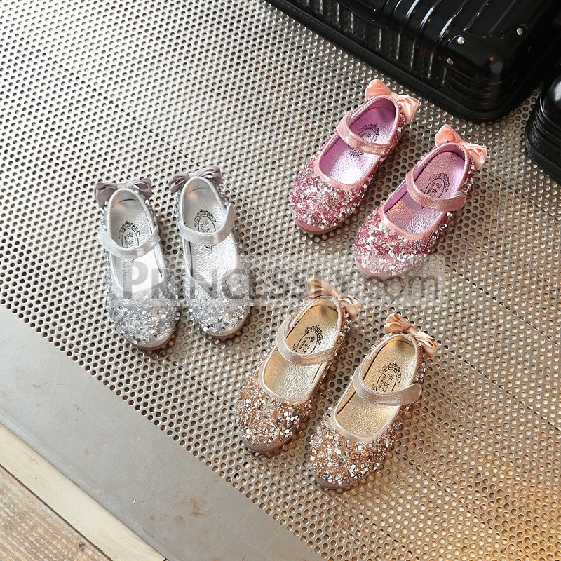 Princessly.com-K1004017-Gold/Silver/Pink Leather Bow Sequin Flower Girl Shoes Wedding Party Princess Shoes-31