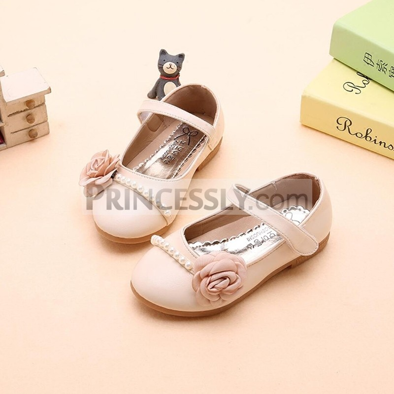 Princessly.com-K1003941-Ivory/Pink/Blue Leather Pearl Flower Girl Shoes Wedding Princess Party Shoes-31