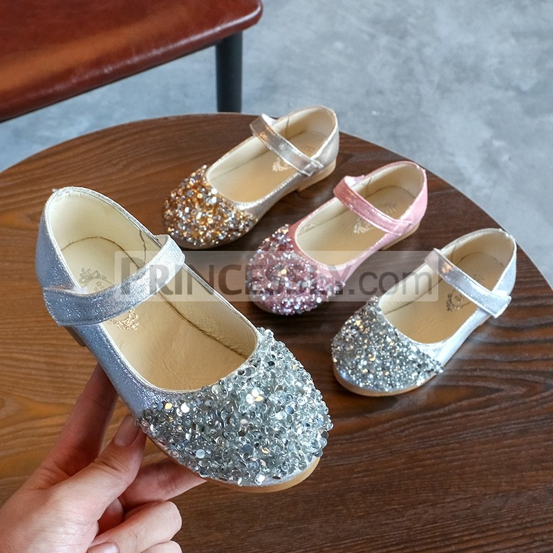 Princessly.com-K1003945-Gold/Silver/Pink Leather Sequins Flower Girl Shoes Kids Baby Girl Princess Shoes-31