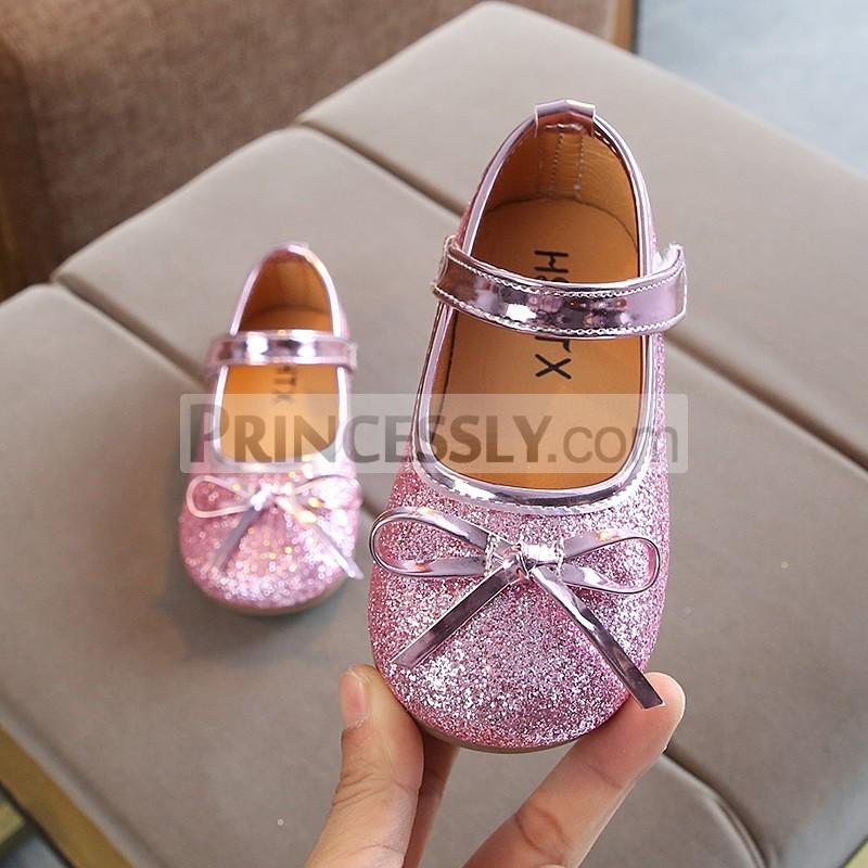 Princessly.com-K1003954-Gold/Silver/Pink Sequin Bow Princess Shoes Kids Flat Sandals Wedding Flower Girl Shoes-31