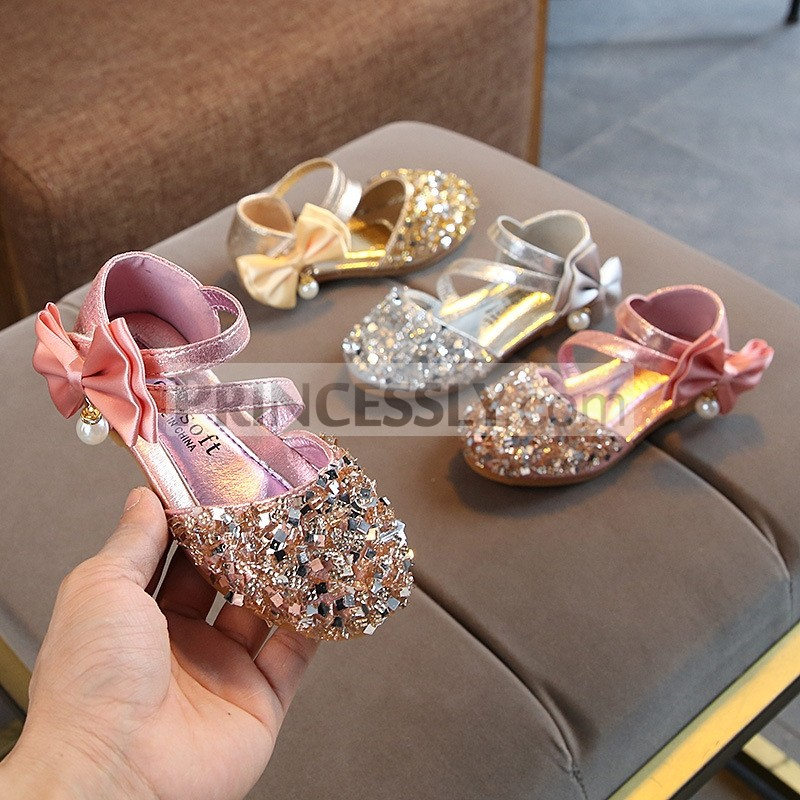 Princessly.com-K1003947-Silver/Gold/Pink Bow Leather Sequin Sandals Baby Dancing Shoes Flower Girl Shoes-31