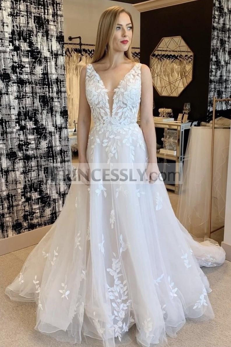 Princessly.com-K1004137-A-line Sleeveless Plunging Neck V-back Lace Tulle Long Bridal Dress-31