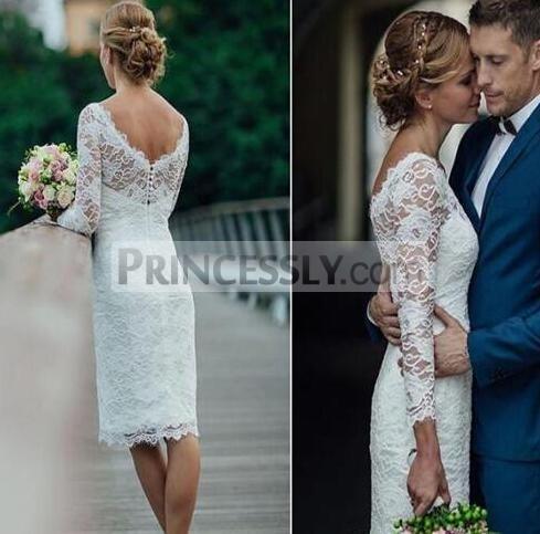 Princessly.com-K1004120-Ivory Lace Long Sleeves Short Wedding Party Dress-31