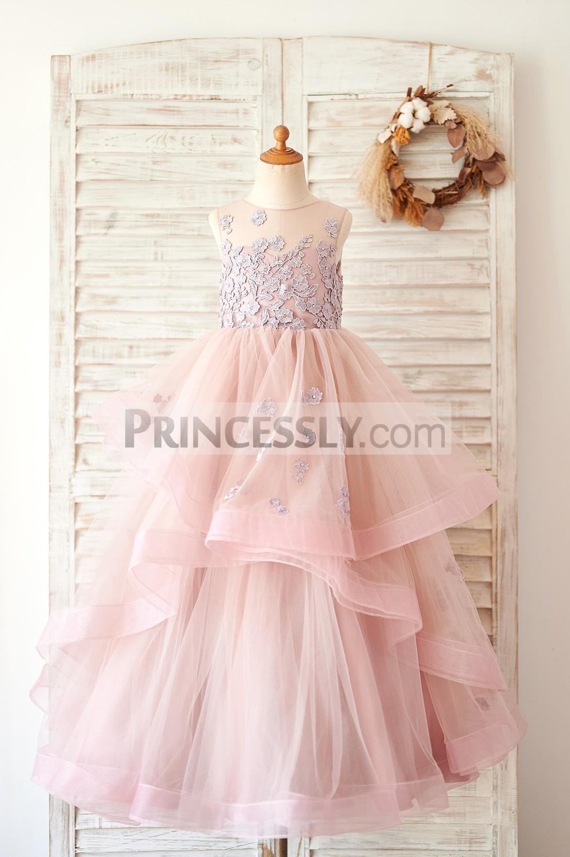 Princessly.com-K1004062-Mauve Lace Tulle Floor Length Wedding Flower Girl Dress-31