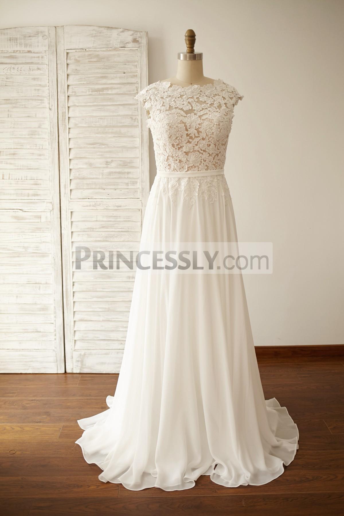 Princessly.com-K1000053-Vintage Deep V Back Lace Chiffon Wedding Dress-31