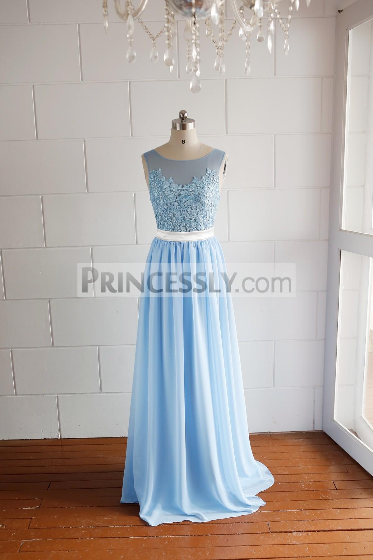 Princessly.com-K1000062-Illusion Neck Blue Lace Chiffon Prom Dress-31