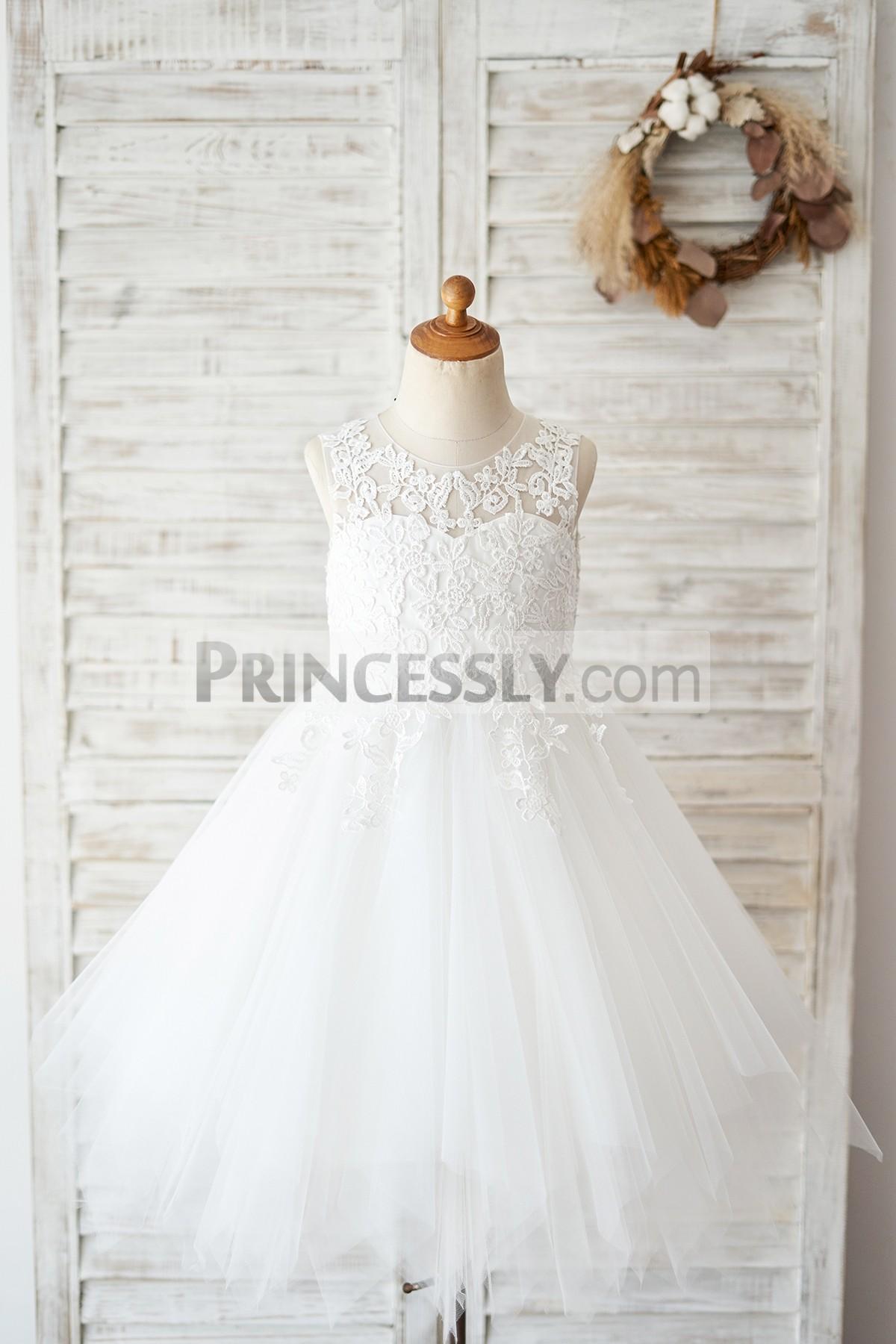 Princessly.com-K1004028-Sheer Back Ivory Lace Tulle Wedding Flower Girl Dress-31