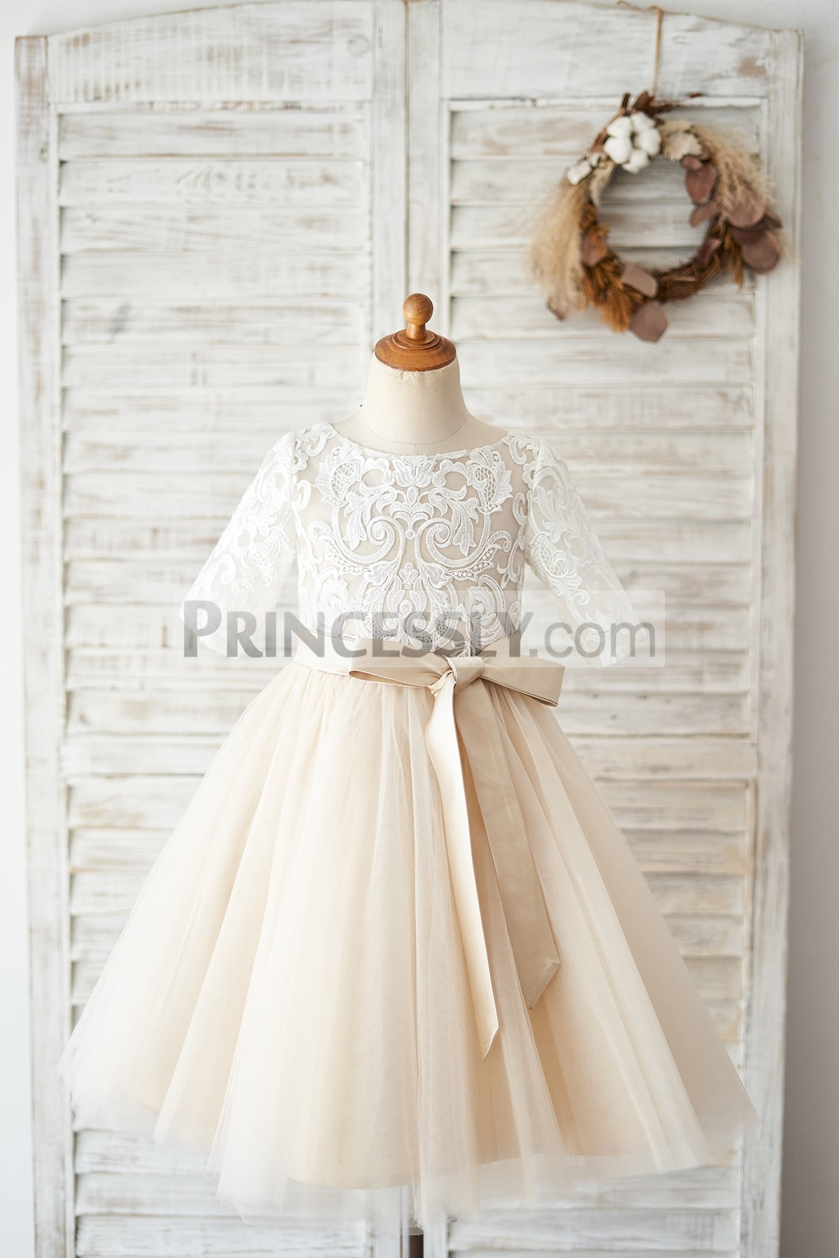 Princessly.com-K1004029-Short Sleeves Ivory Lace Tulle Wedding Flower Girl Dress with Champagne Lining-31