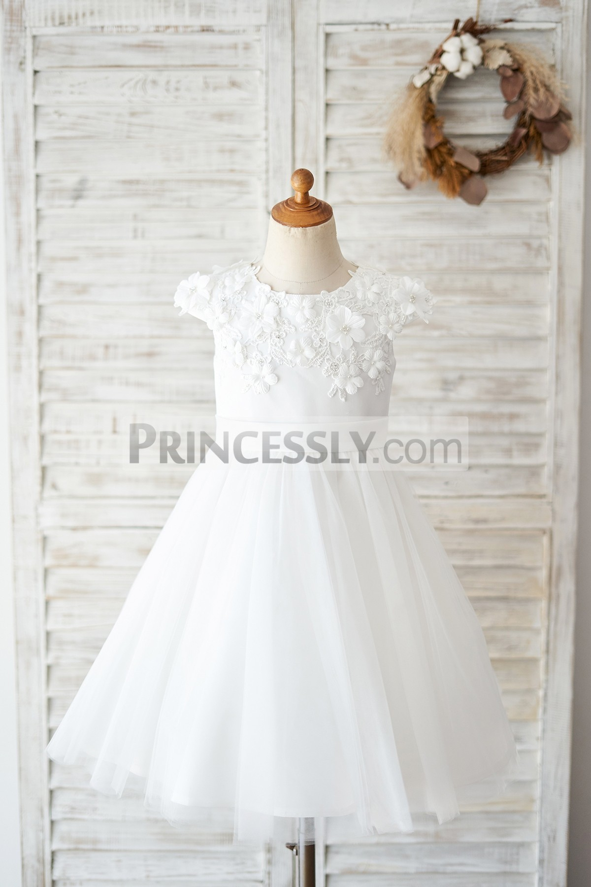 Princessly.com-K1004039 Ivory Lace Tulle Cap Sleeves Flowers Wedding Flower Girl Dress-31