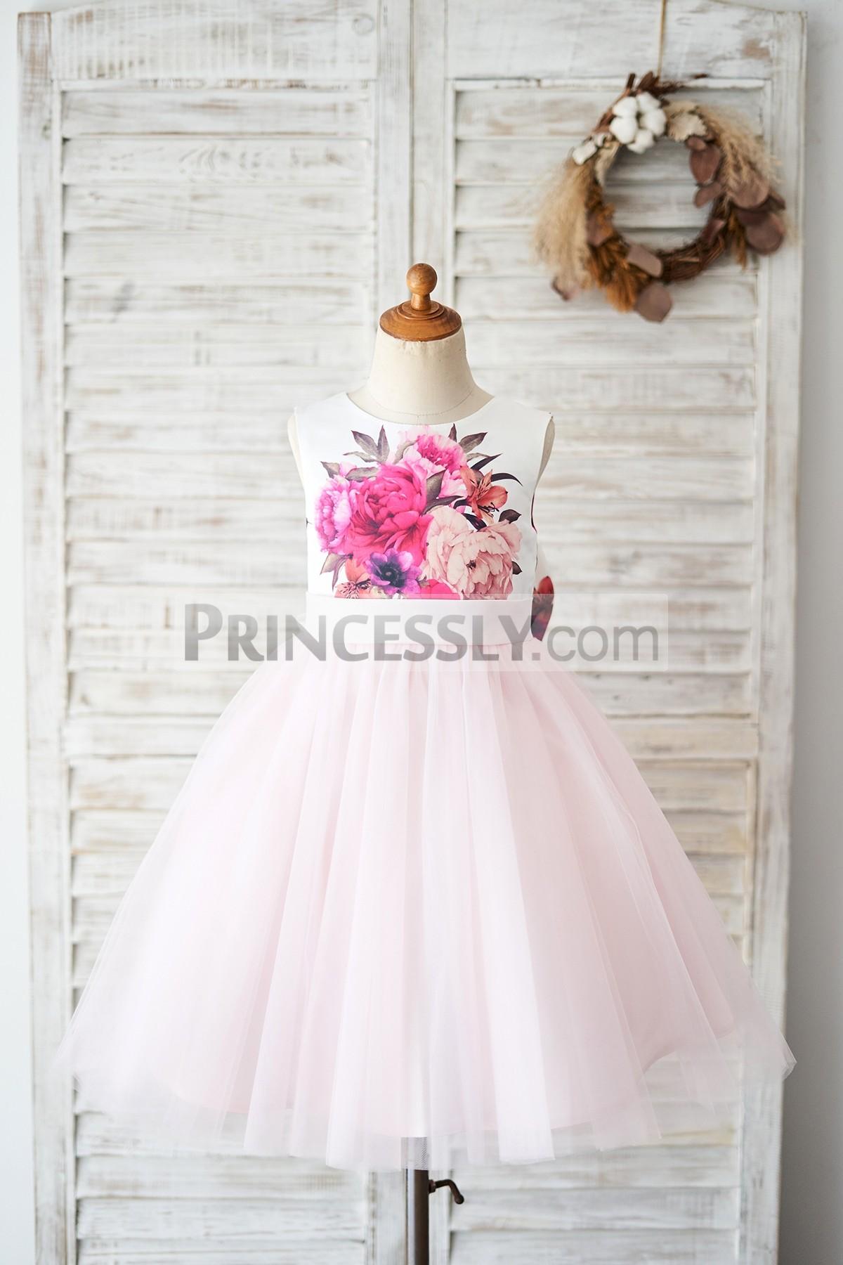 Princessly.com-K1004031-Floral Print Satin Pink Tulle V Back Wedding Flower Girl Dress-31