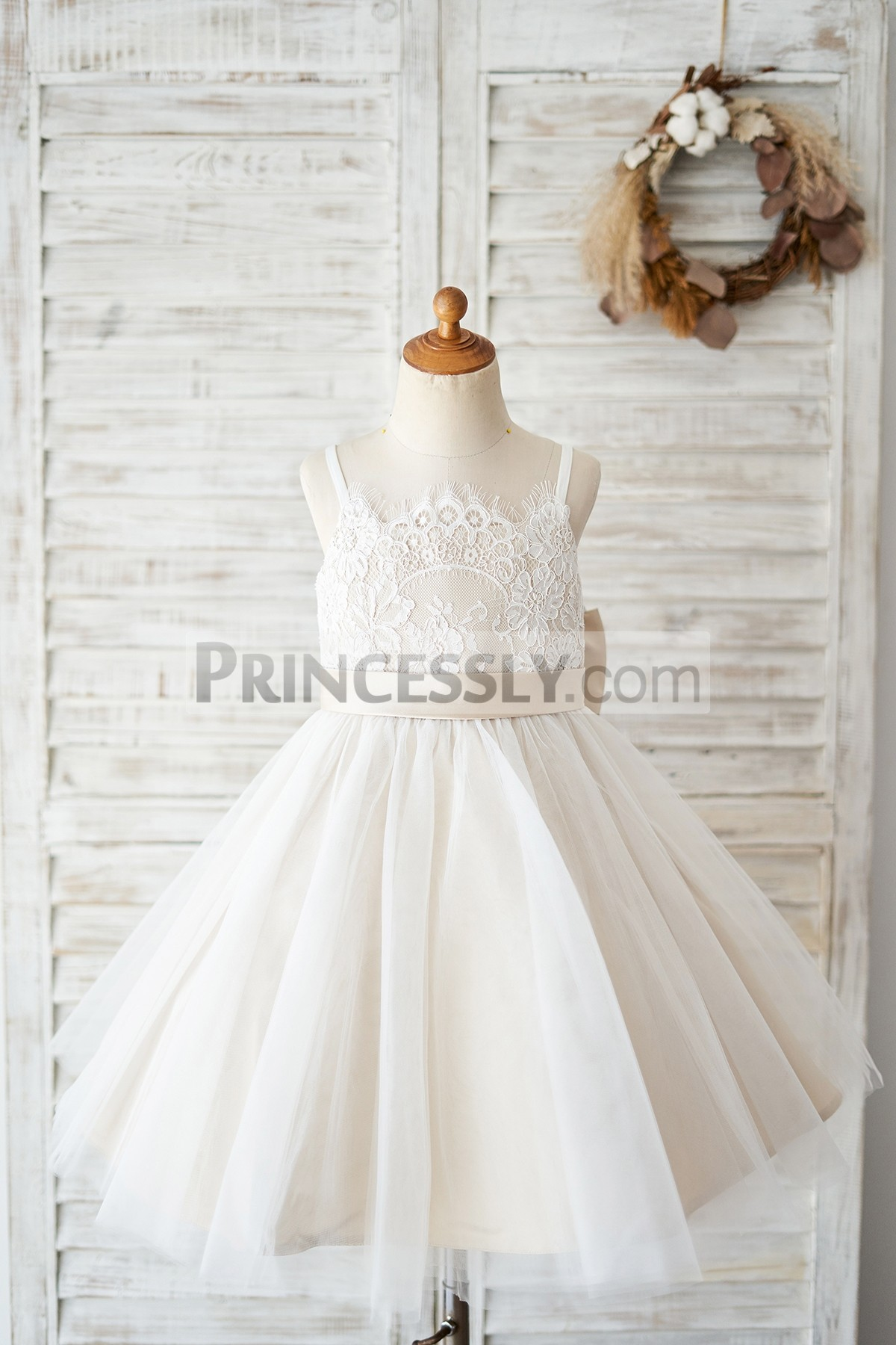 Princessly.com-K1004036 Spaghetti Straps Ivory Lace Tulle Wedding Flower Girl Dress with Champagne Lining-31