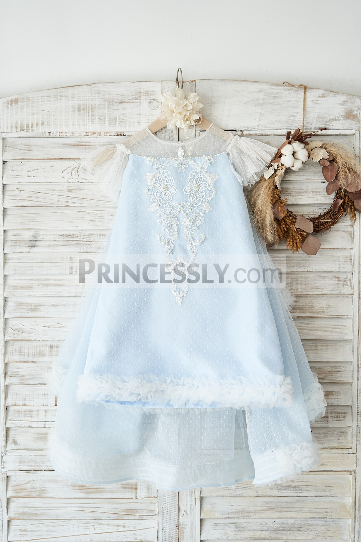 Princessly.com-K1004034-Blue Polka Dot Lace Tulle Cap Sleeves Wedding Flower Girl Dress-31