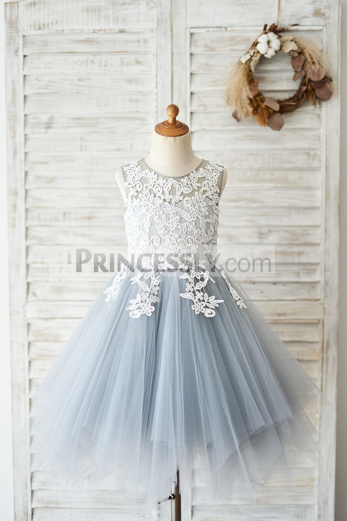 Princessly.com-K1004033-Princess Ivory Lace Gray Tulle Wedding Flower Girl Dress-31