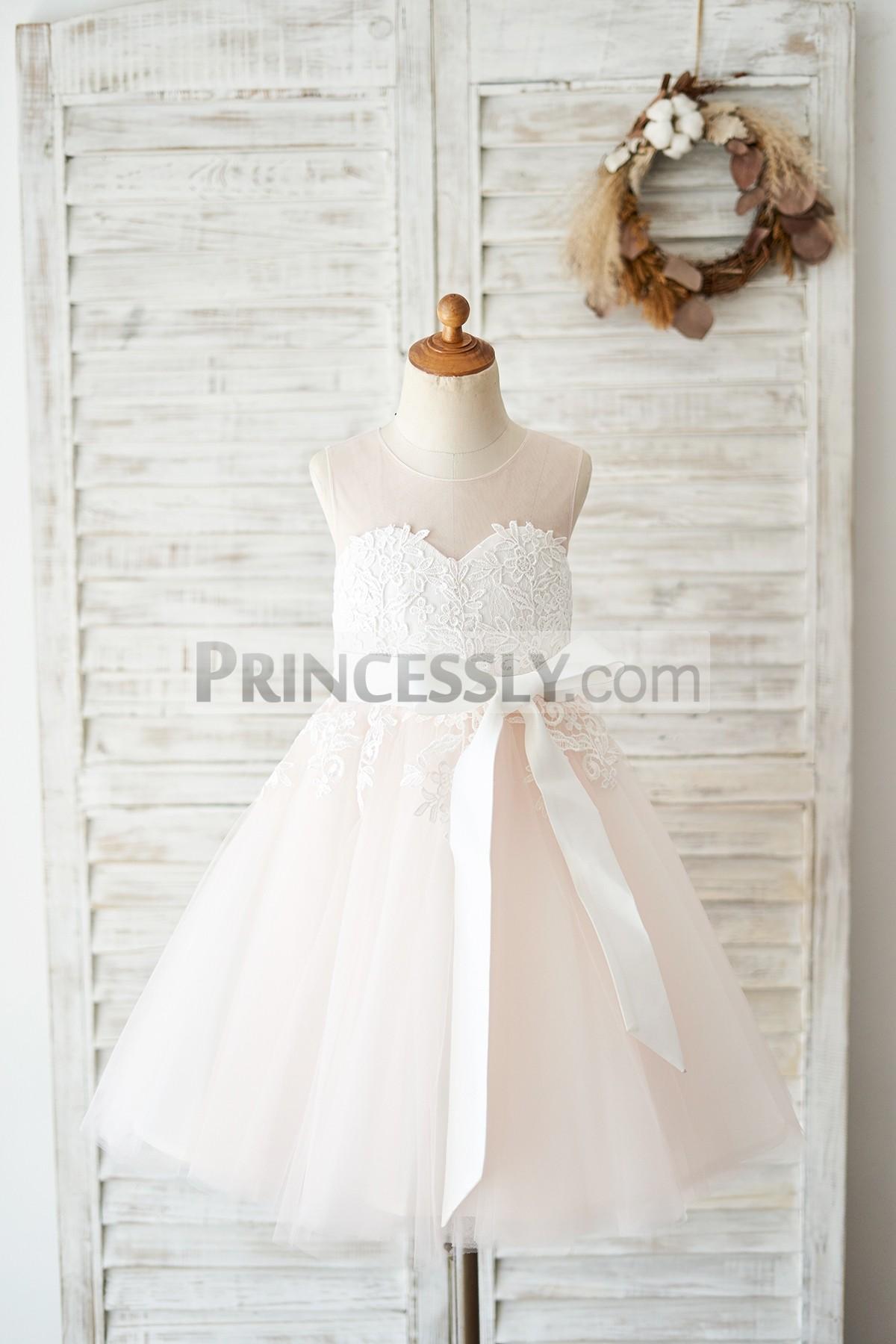 Princessly.com-K1004038-Keyhole Back Ivory Lace Pink Tulle Wedding Flower Girl Dress-31