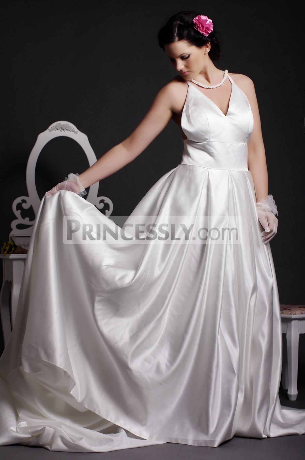 Graceful A-line V-neck Criss-cross Back Pleated Floor Length Court Satin Wedding Dress