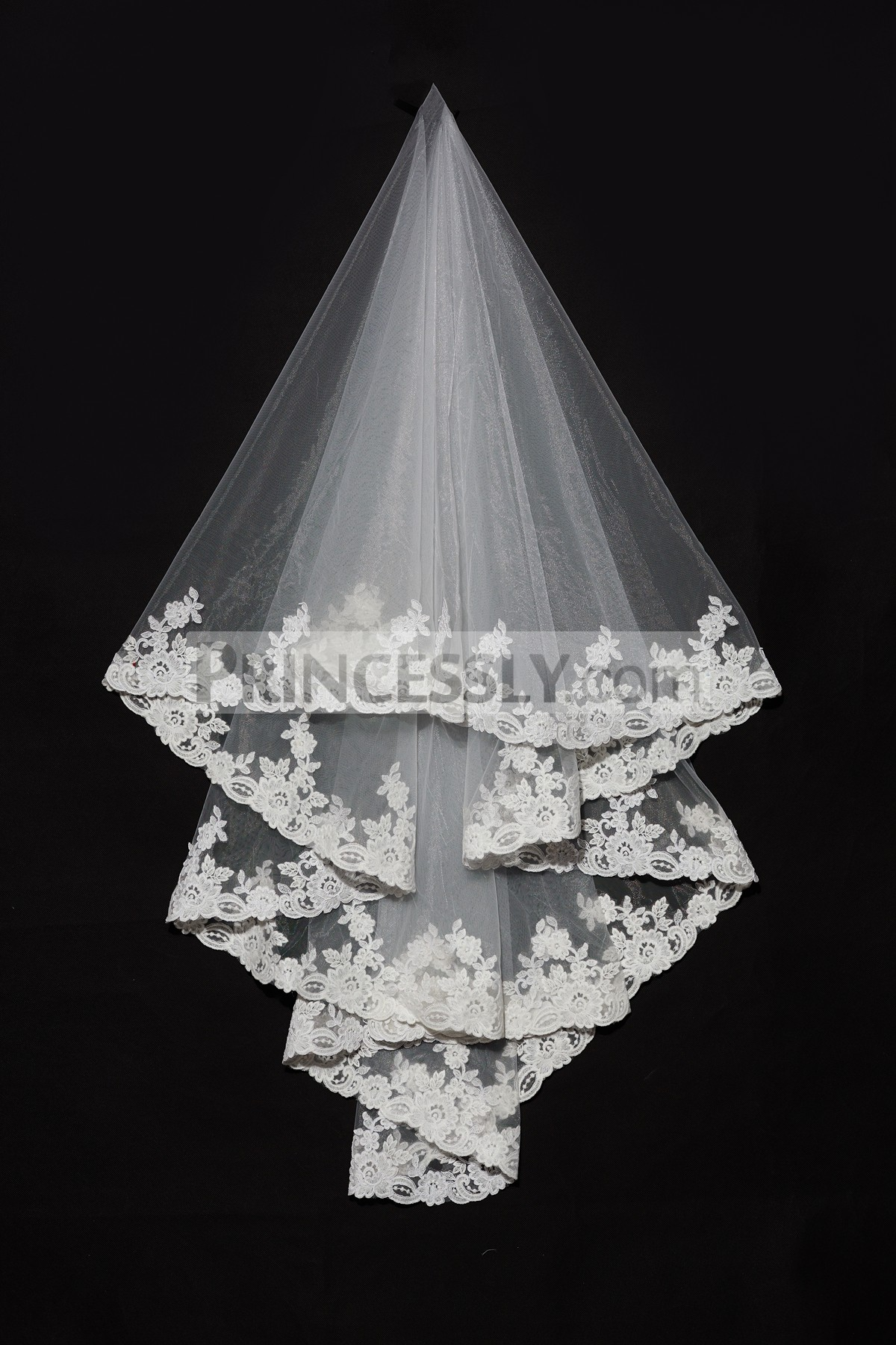 Princessly.com-K1000332-2 Layers Elbow Length Lace Wedding Veil-31