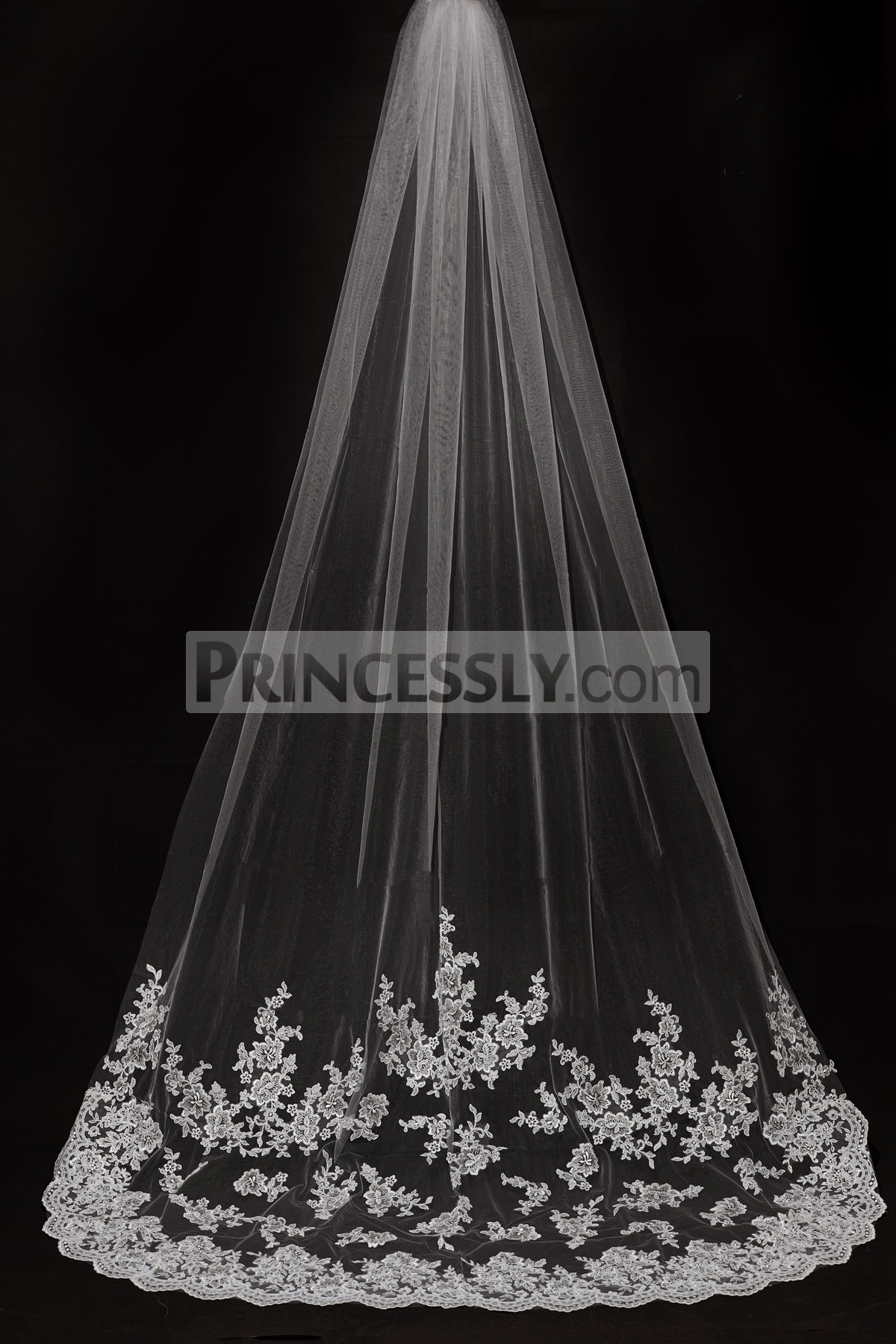 Princessly.com-K1000333-Cathedral Long Length French Lace Appliques Wedding Veil-31