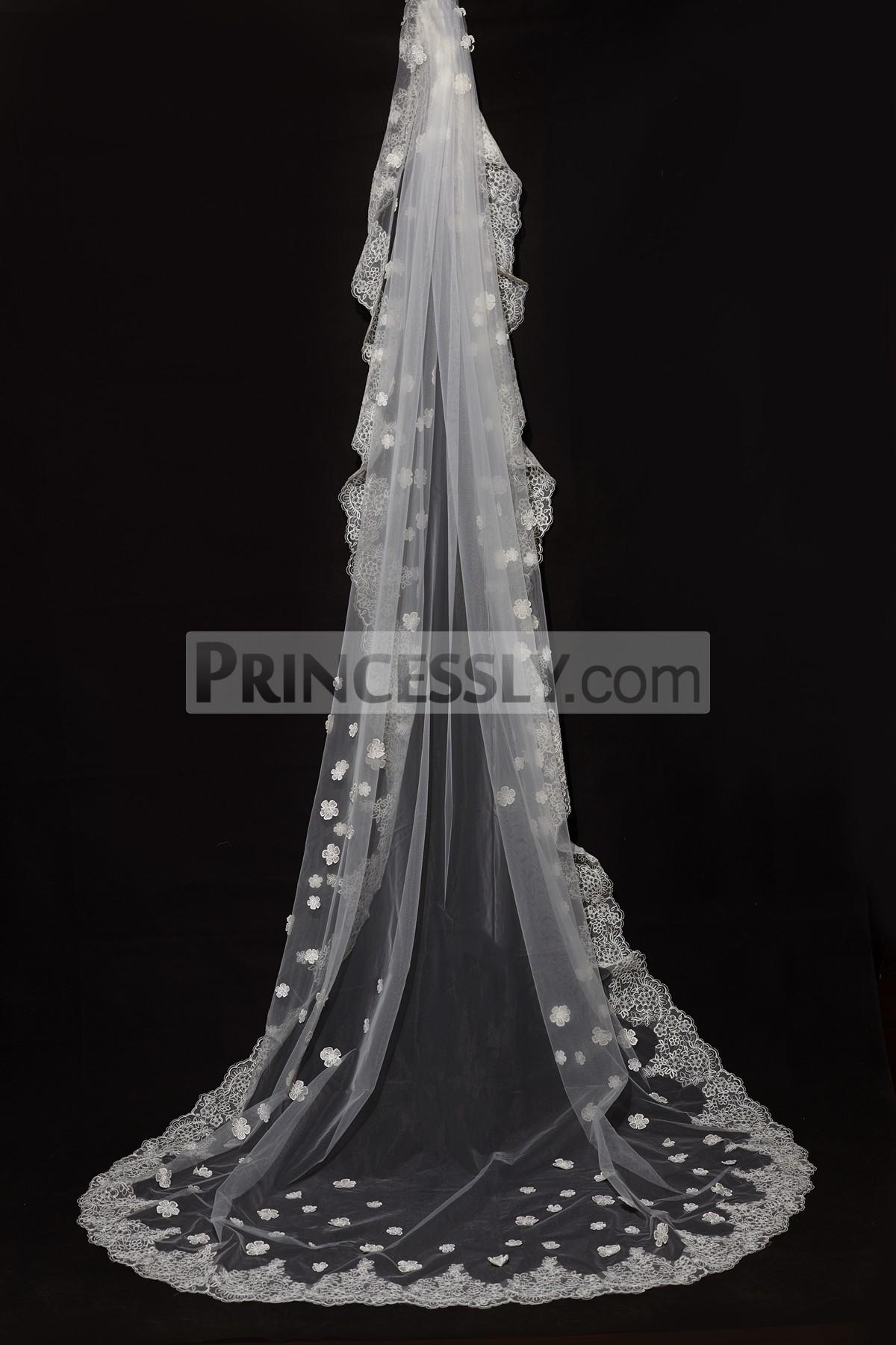 Princessly.com-K1000334-Cathedral Long Length Lace Trim 3D Flower Wedding Veil-31