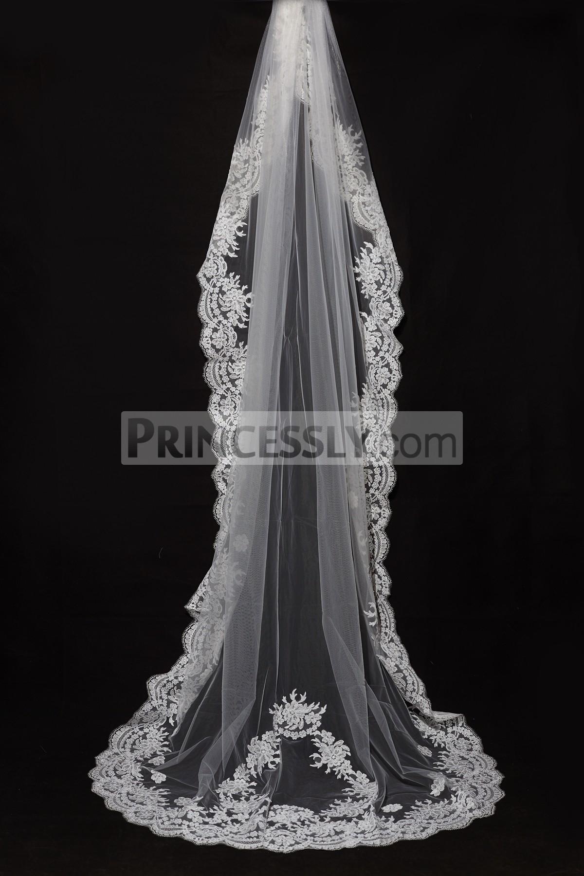 Princessly.com-K1000335-Cathedral Long Floor Length French Lace Trim Appliques Wedding Veil-31