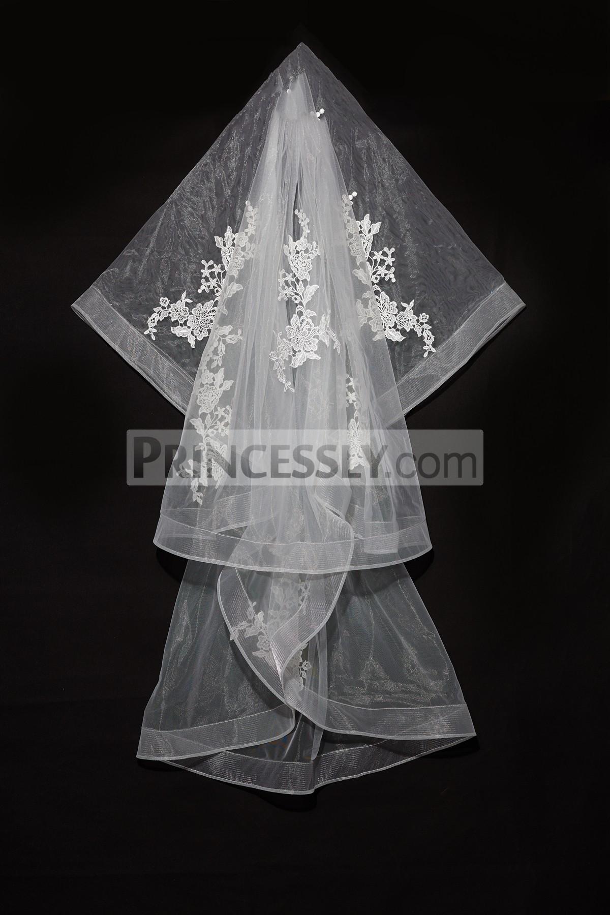 Princessly.com-K1000337-Short Elbow Length Horsehair Trim Lace Wedding Veil-31