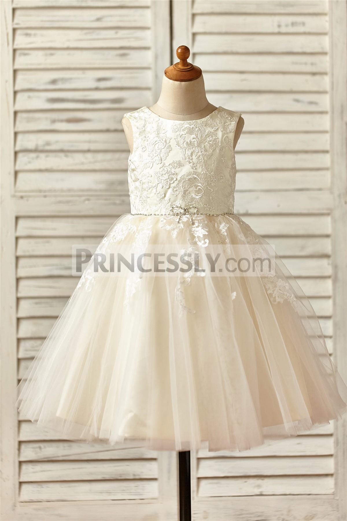 Princessly.com-K1000145 Champagne Satin Tulle Flower Girl Dress with Beaded Sash-31