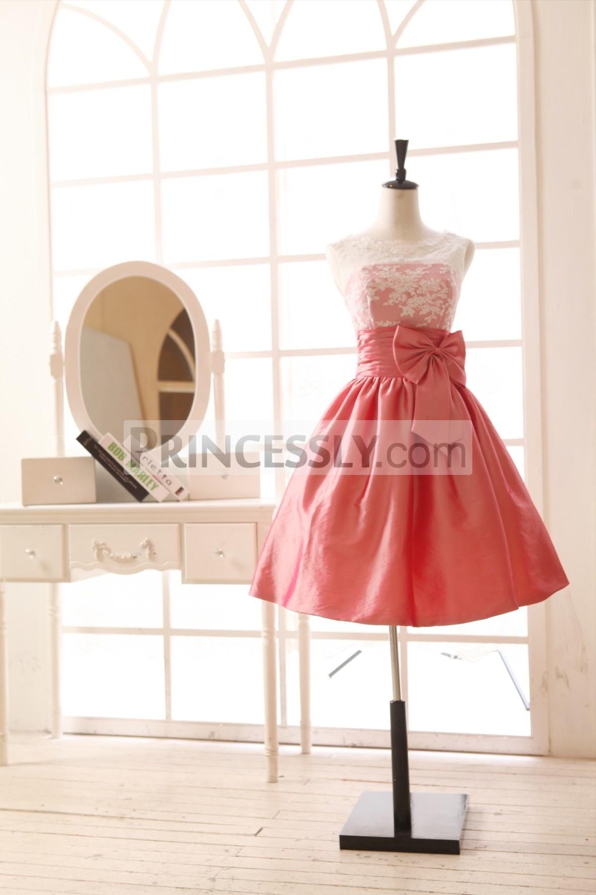Princessly.com-K1001958-Coral Lace Taffeta Bridesmaid Dress in knee Short Length-31