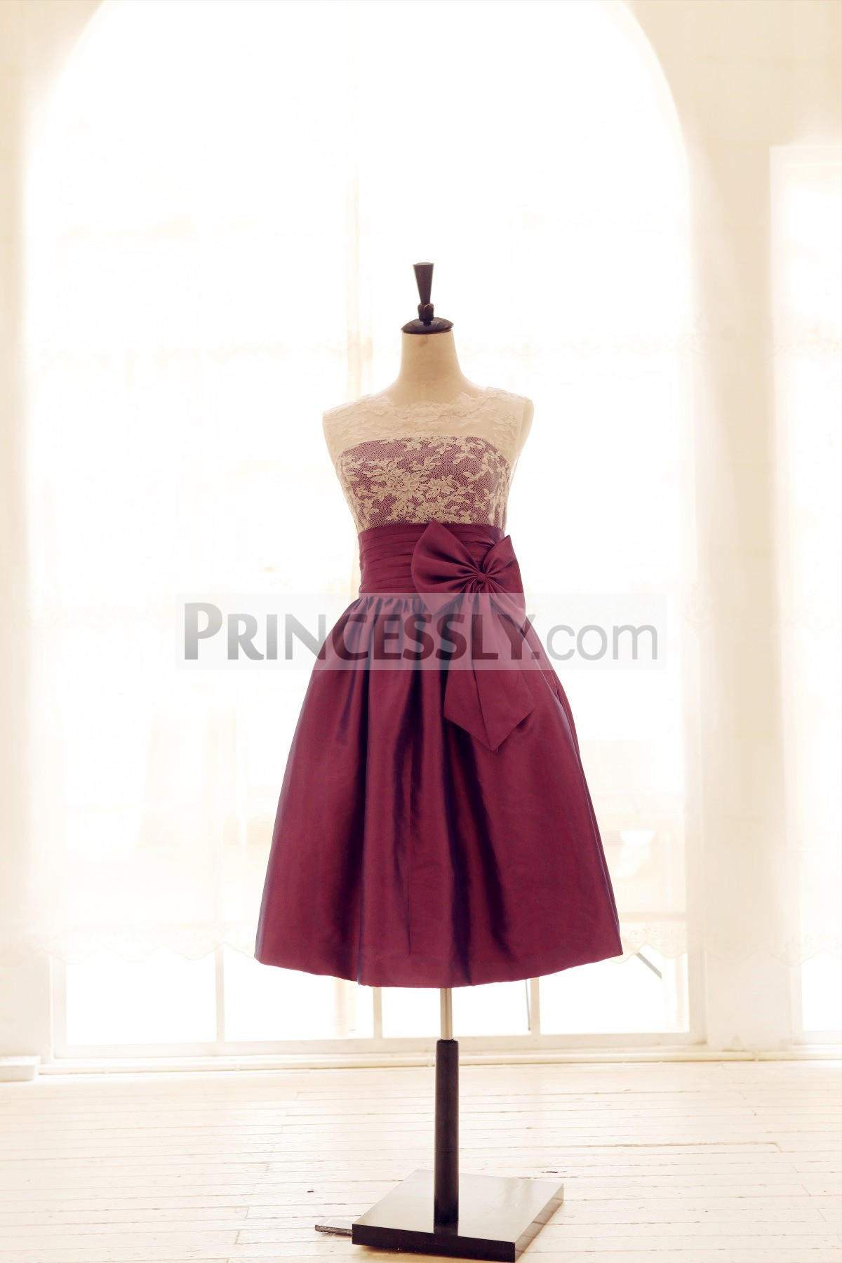 Princessly.com-K1001959-Lace Taffeta Bridesmaid Dress In knee Short Length-Dark Purple Color-31