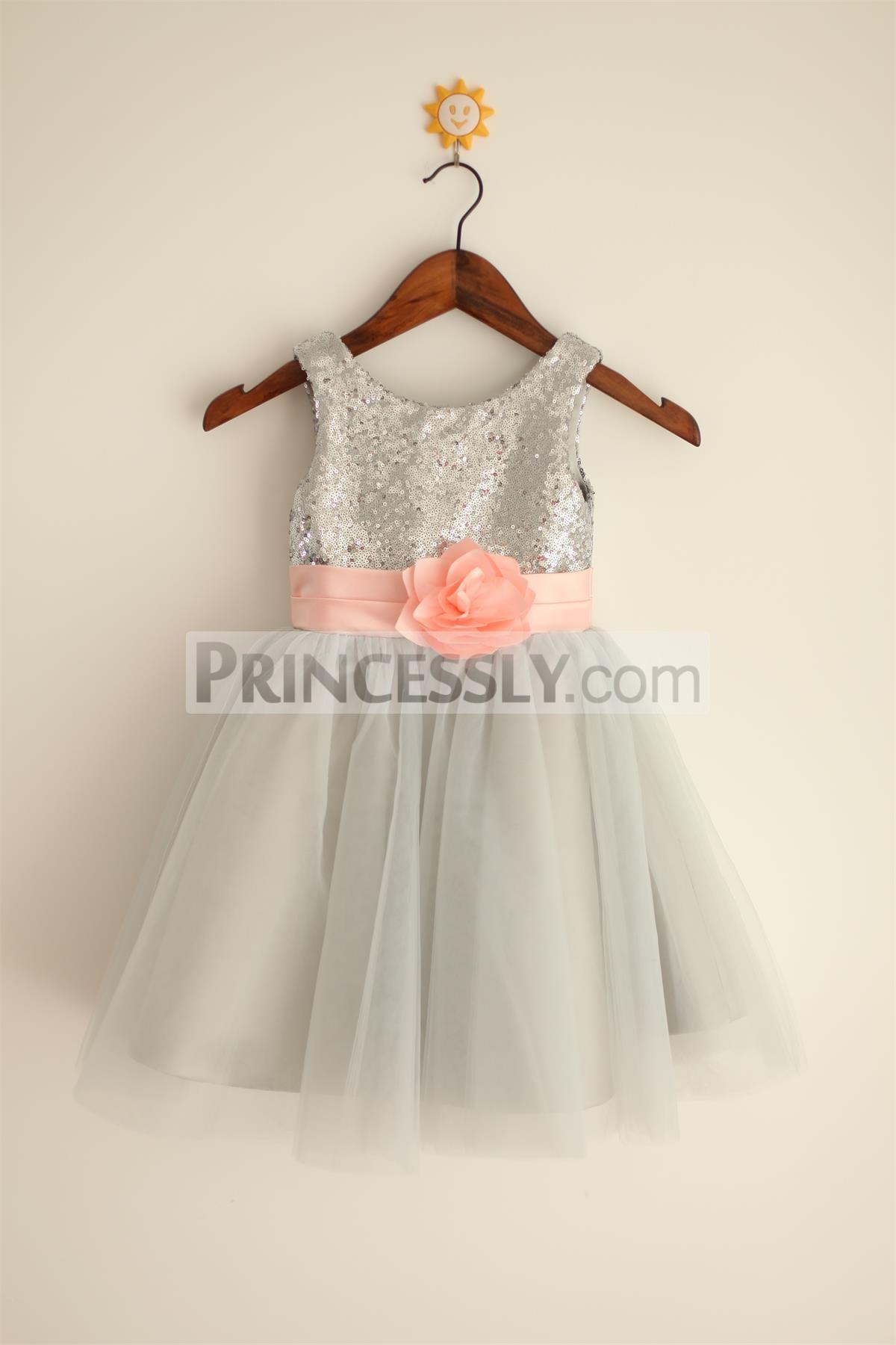 Princessly.com-K1000023-Silver Grey Sequin Tulle Flower Girl Dress with blush pink belt-31