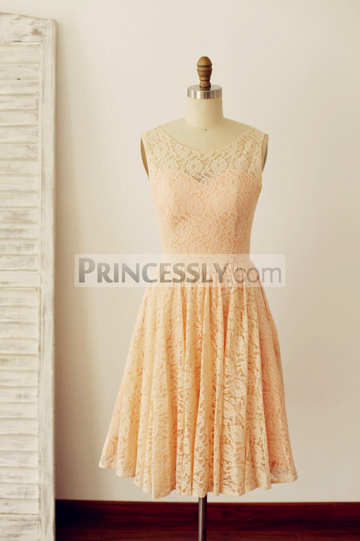 Princessly.com-K1000216-Peach Pink Lace Deep V Back Short Bridesmaid Dress with bow-31