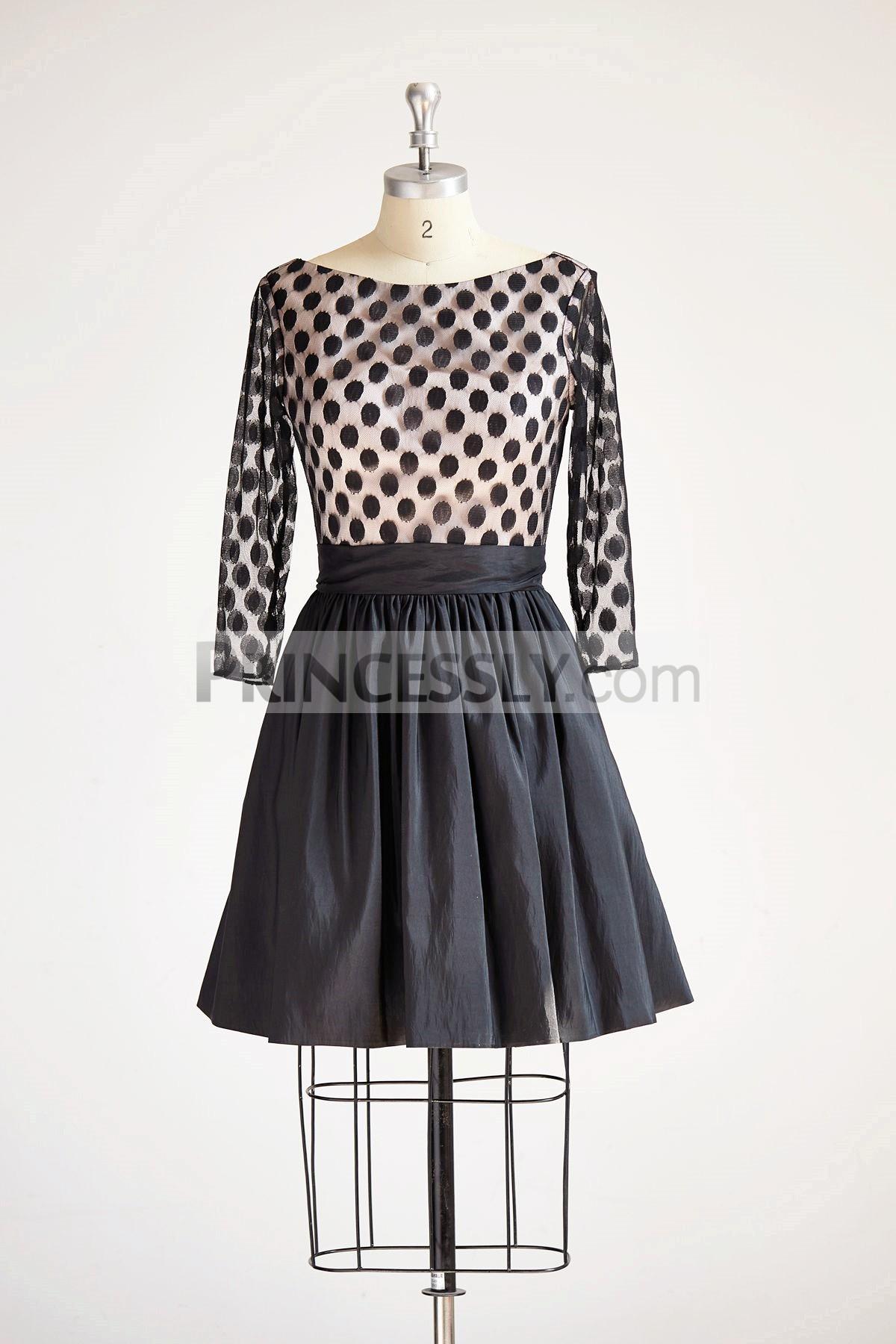 Princessly.com-K1000313-Long Sleeves V Neck Polka Dots Tulle Black Taffeta Short Wedding Bridesmaid Party Dress-31