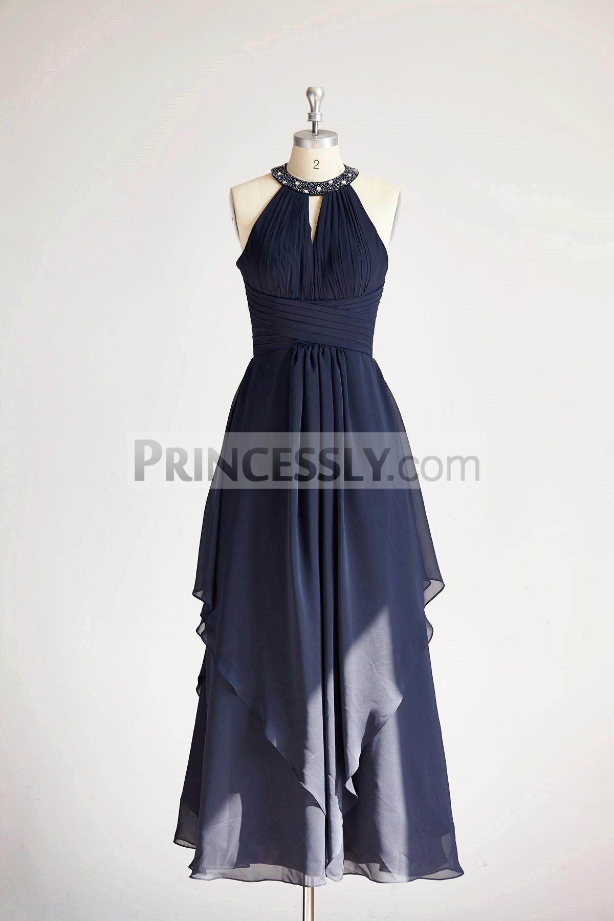 Princessly.com-K1000315-Halter Navy Blue Beaded Chiffon Long Wedding Bridesmaid Dress-31