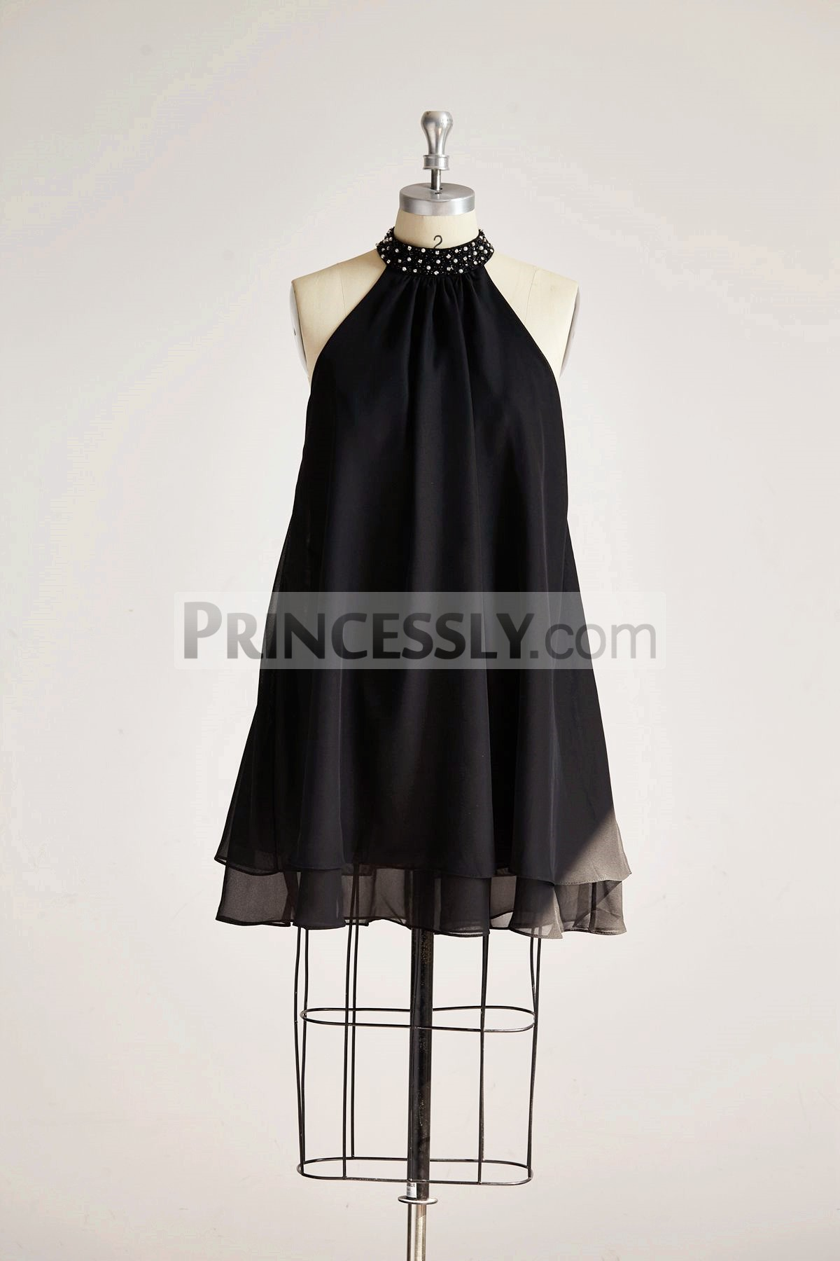 Princessly.com-K1000317 Black Chiffon High Neck Beaded Short Bridesmaid Dress-31