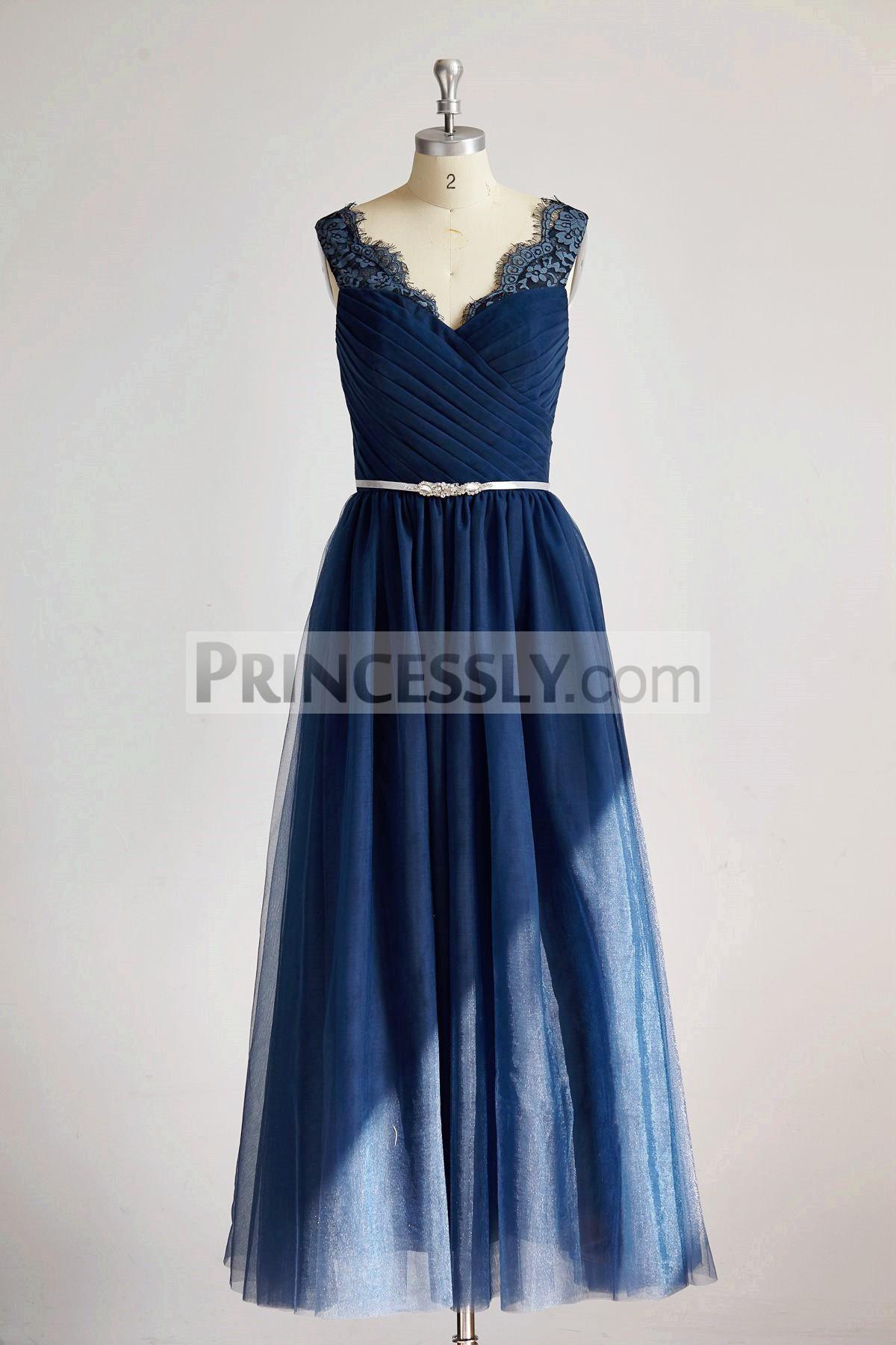 Princessly.com-K1000291-V Neck Navy Blue Lace Tulle Long Bridesmaid Dress/Wedding Party Dress-31
