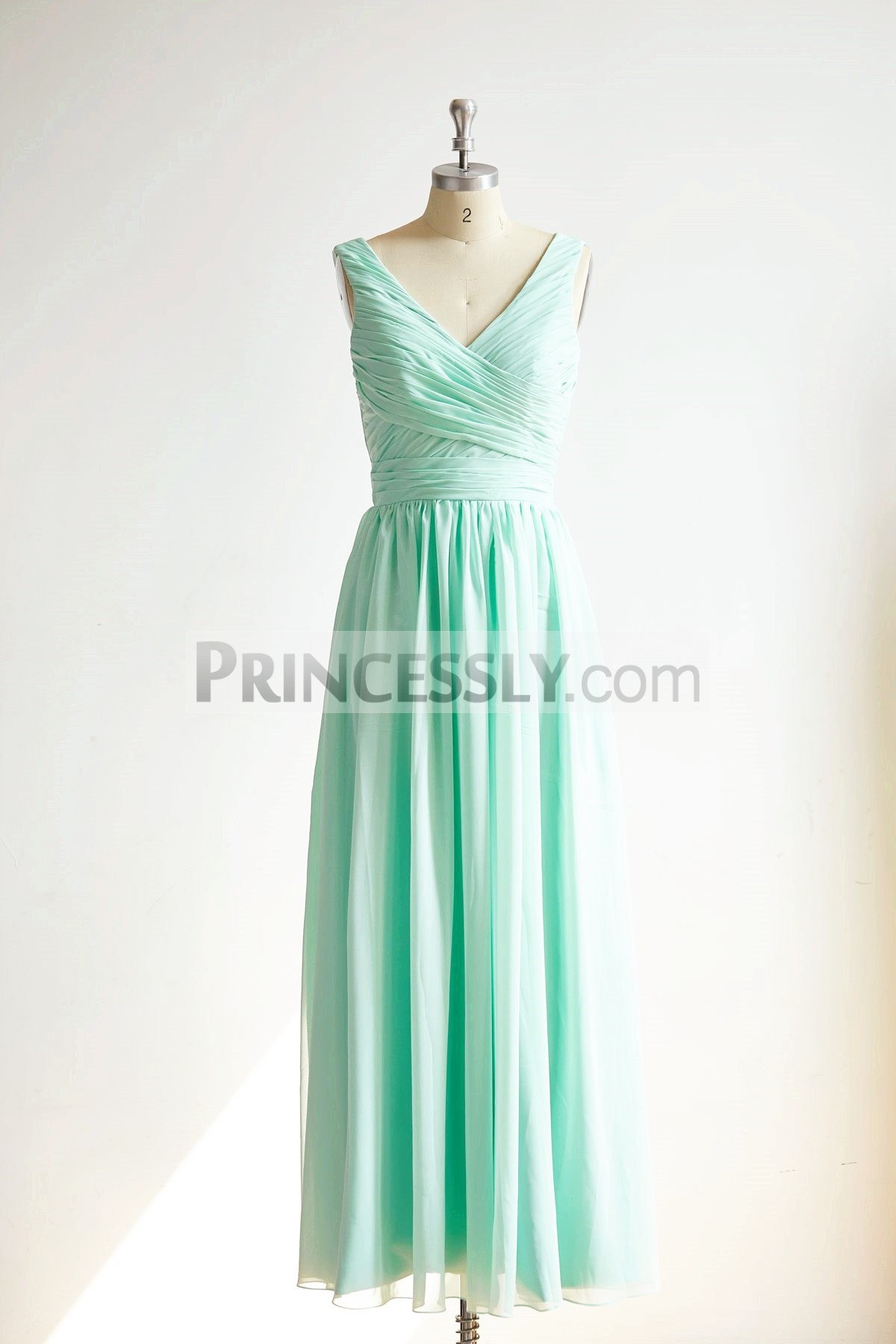Princessly.com-K1000298-V Neck Mint Blue Chiffon Long Wedding Bridesmaid Dress-31