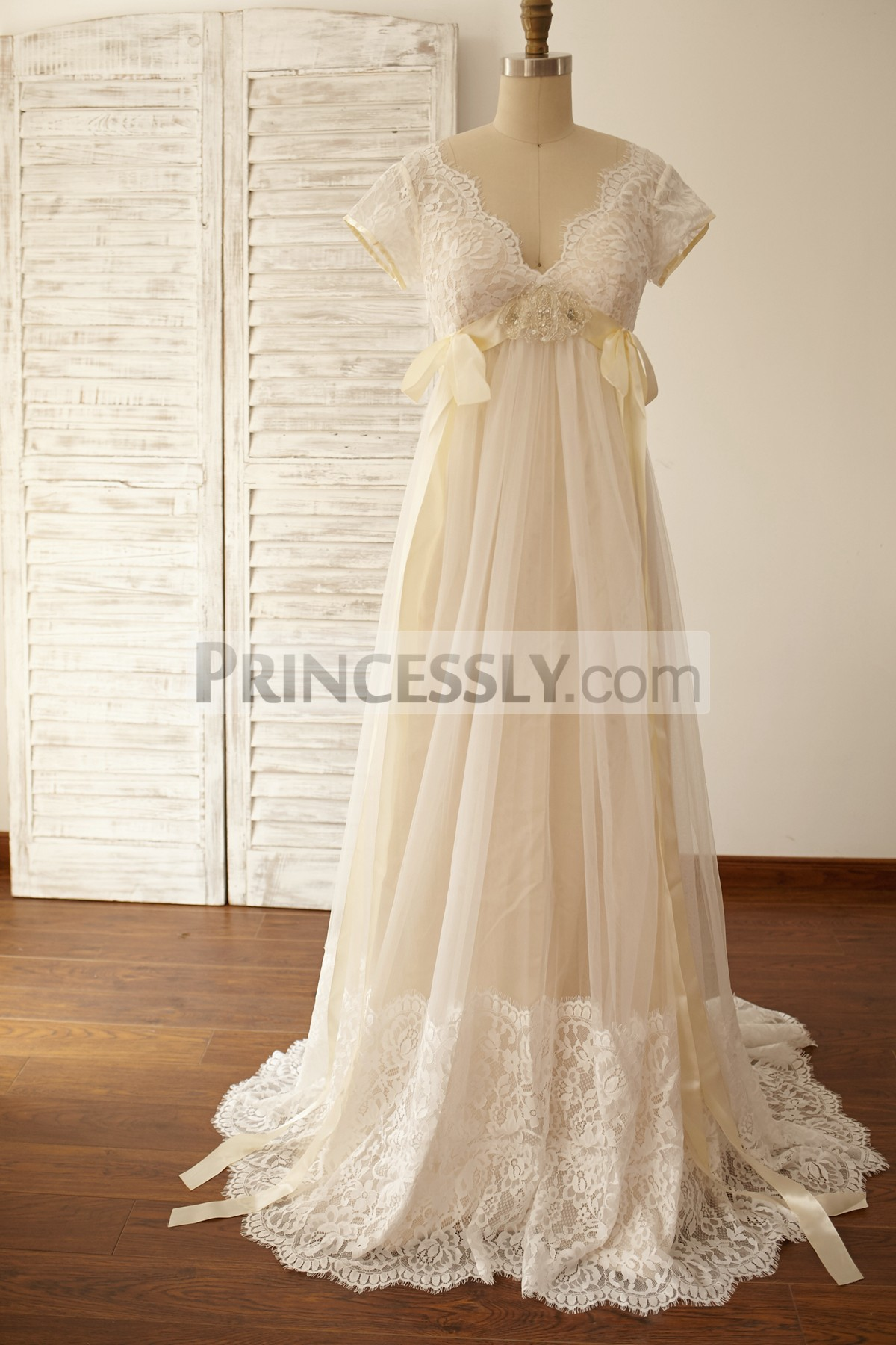Princessly.com-K1000056-Empire Waist Maternity Cap Sleeves Lace Tulle Wedding Dress-31