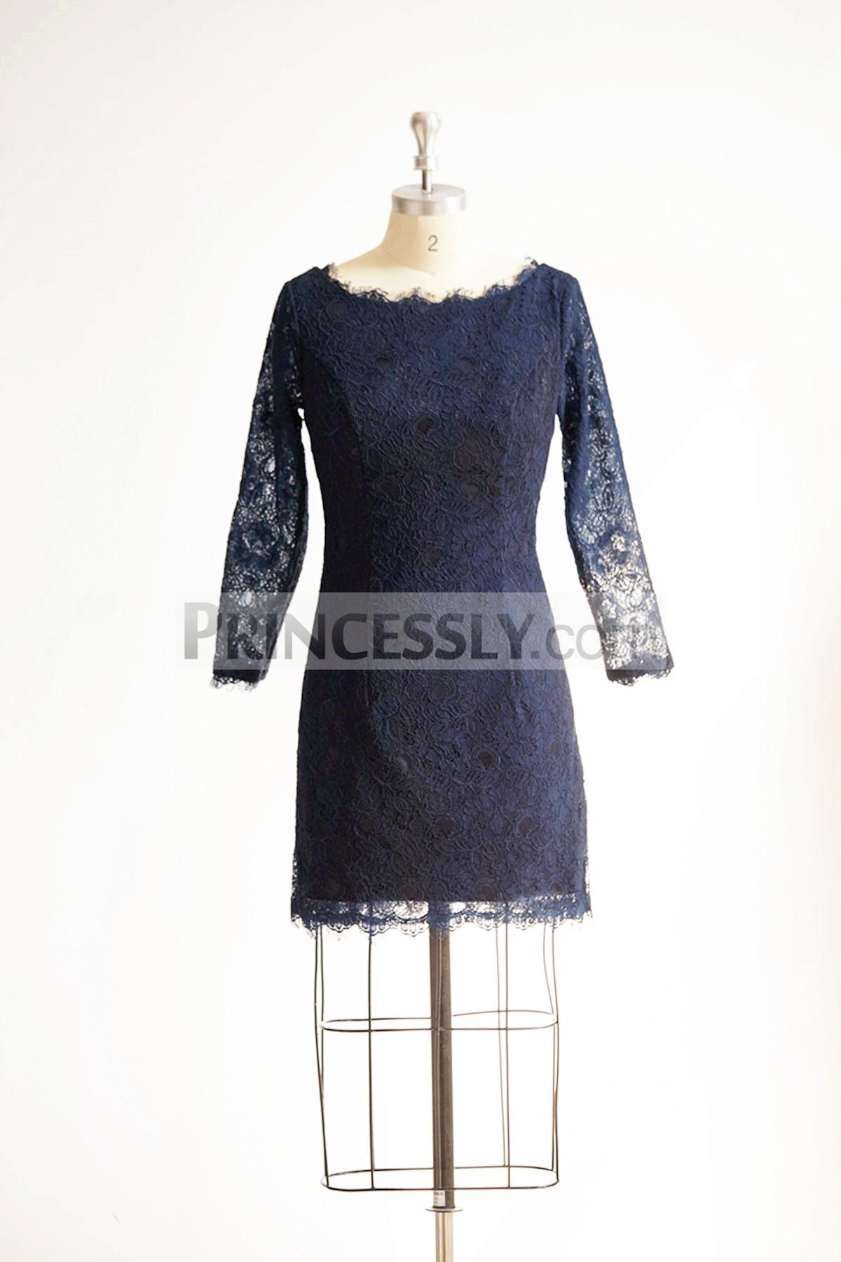 Princessly.com-K1000304-Long Sleeves Navy Blue Lace Short Wedding Bridesmaid Dress/Mother Dress-31