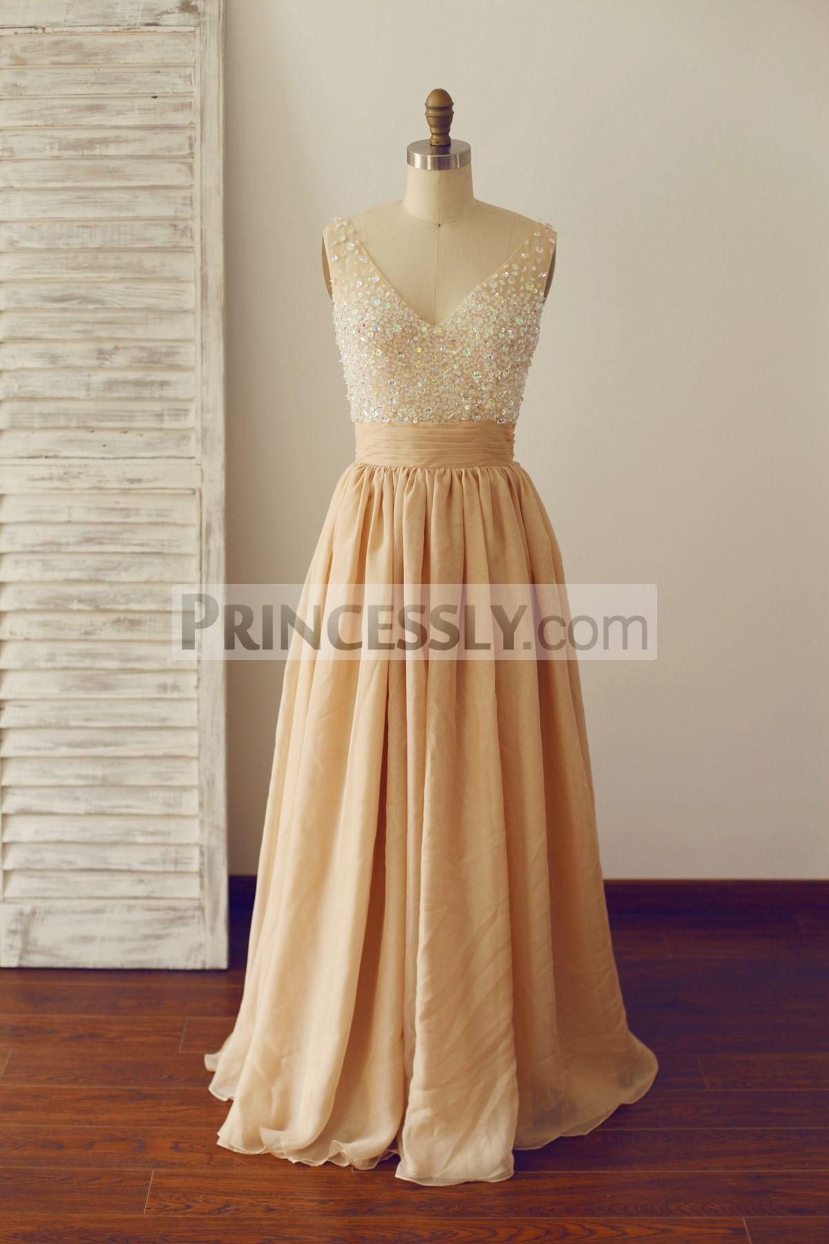 Princessly.com-K1000233-Sheer See Through Deep V Champagne Chiffon Beaded Prom Dress-31